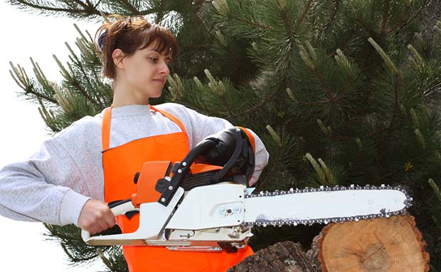 chainsaw and woman