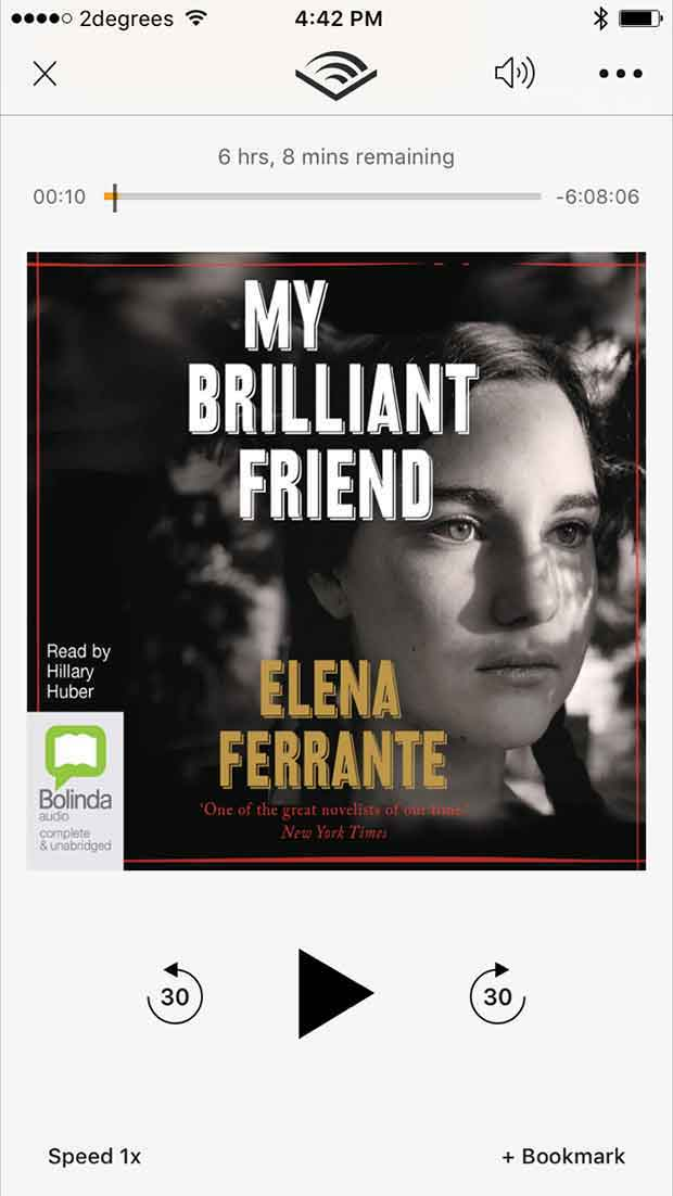 The My Brilliant Friend audio book, available from iTunes