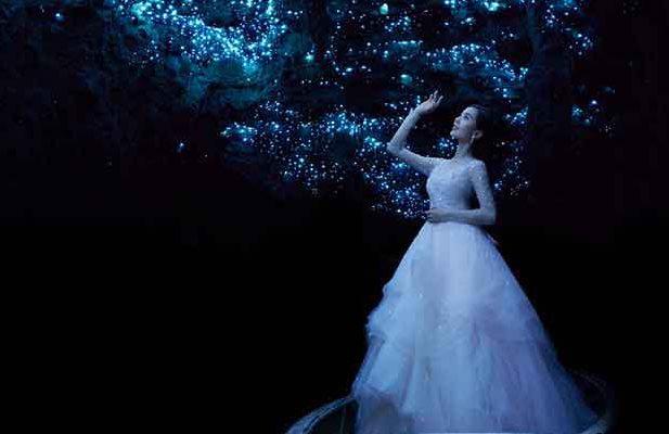Actress Liu Shishi at the Waitomo caves in King Country, New Zealand.
