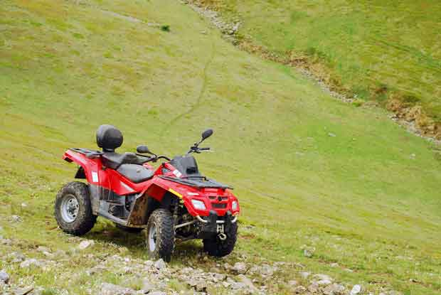 ARV quad bike on a hill