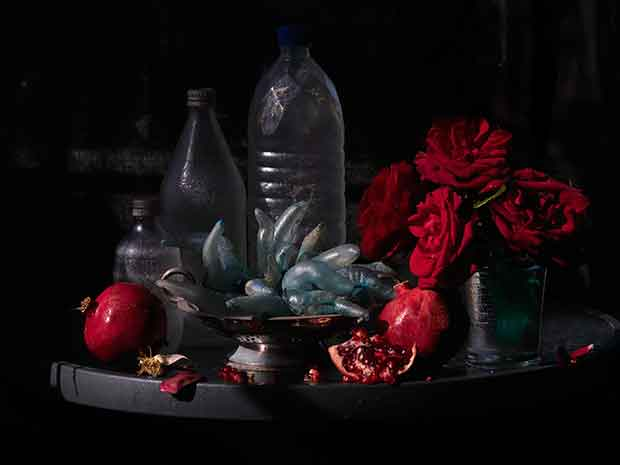 Still Life with My Mother's Roses, Pomegranates & Plastic Bottles, Ripiro 2013, By Fiona Pardington.