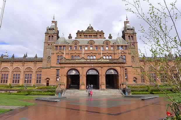 The grand exterior of Kelvingrove museum in Glasgow.