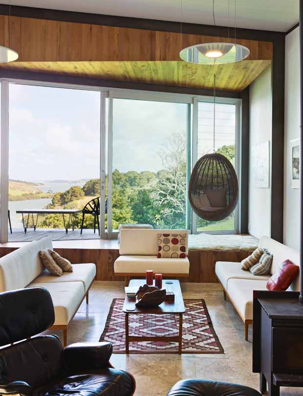 The white lounge suite was designed by Dave and manufactured by then-neighbours in Otaki.