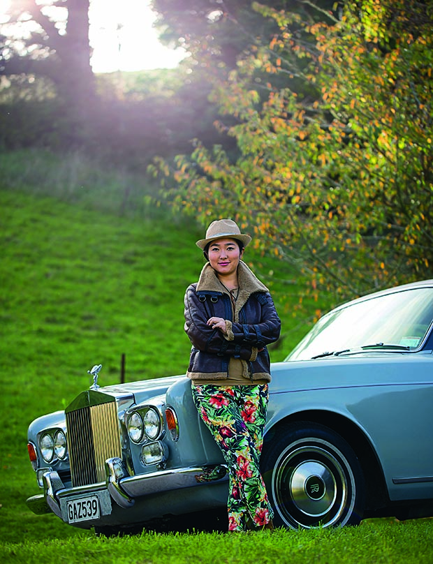 Jing Song and her 1973 fixed-head coupé Rolls-Royce Corniche.