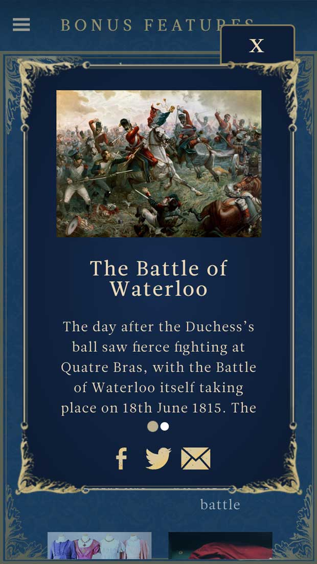 Background information on the Battle of Waterloo in the Belgravia app.