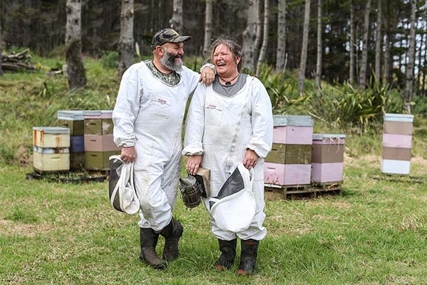 Terry & Karlene Shaw-Toomey. Beekeepers and owners of Earthbound Honey, Bethells Beach, West Auckland.