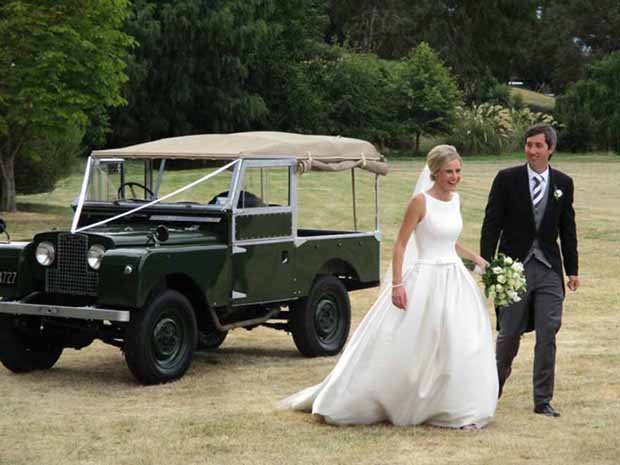 Charlotte and James arrive at their wedding reception at Charlotte's family home in Wanaka.