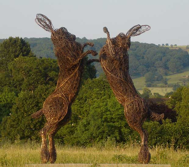 Hare sculptures by British sculptor Rupert Till.
