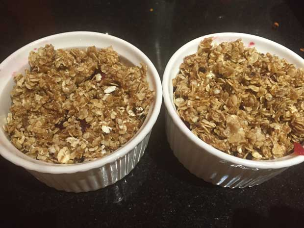 Apple and boysenberry crumbles (before baking)
