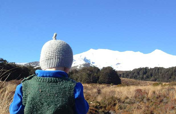 Kids walk near Ruapehu