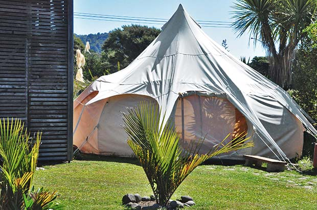 A large Belle tent can sleep four people.