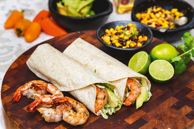 Chilli lime prawn burrito with coriander slaw