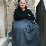 A woman in traditional dress in Scanno.