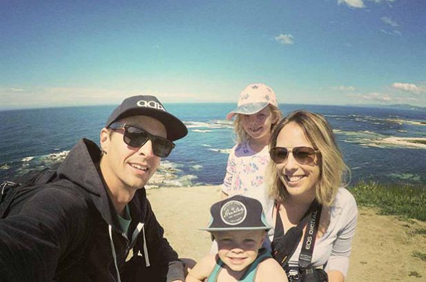 Family shot on the cliffs at Kaikoura, just after our chip sammies. Loaded up like the tourists we are.