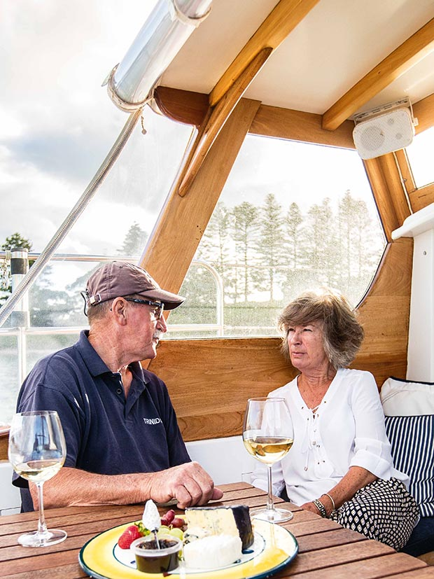 Boat lovers David and Barbara Cooke on the Trinidad