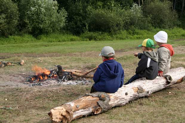 boys at campfire