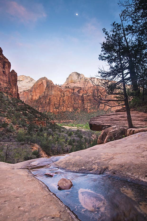 Moonrise from Middle Emerald Pool, Zion National Park, Utah.