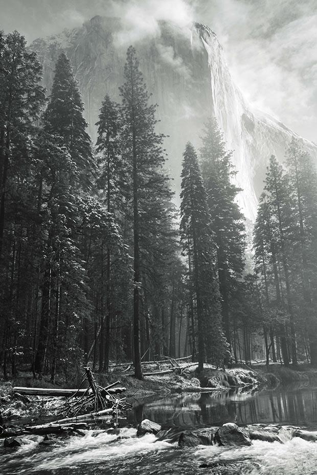 El Capitan above the Merced, Yosemite National Park, California.