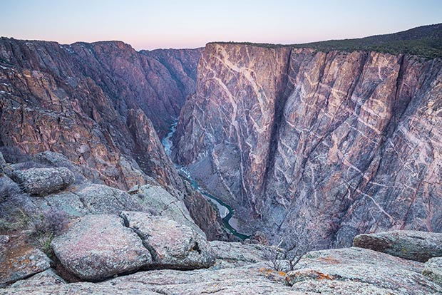 Dawn over Painted Wall, in the Black Canyon of the Gunnison National Park, Colorado.