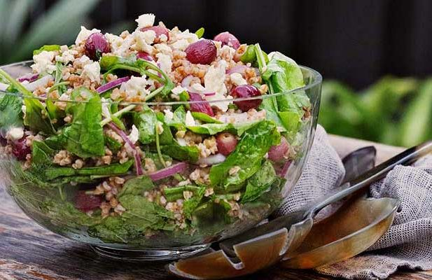 Recipe: Toasted farro salad with blistered red grapes & feta