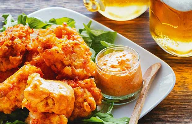 barbecue Shrimp & Corn Fritters with Sriracha Aioli