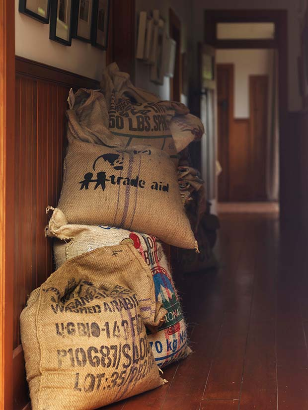 bags of coffee in a hallway