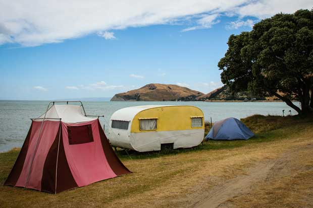 camping at New Zealand beach