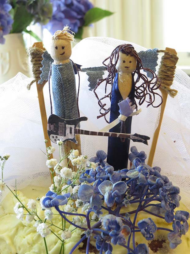 wedding peg cake topper